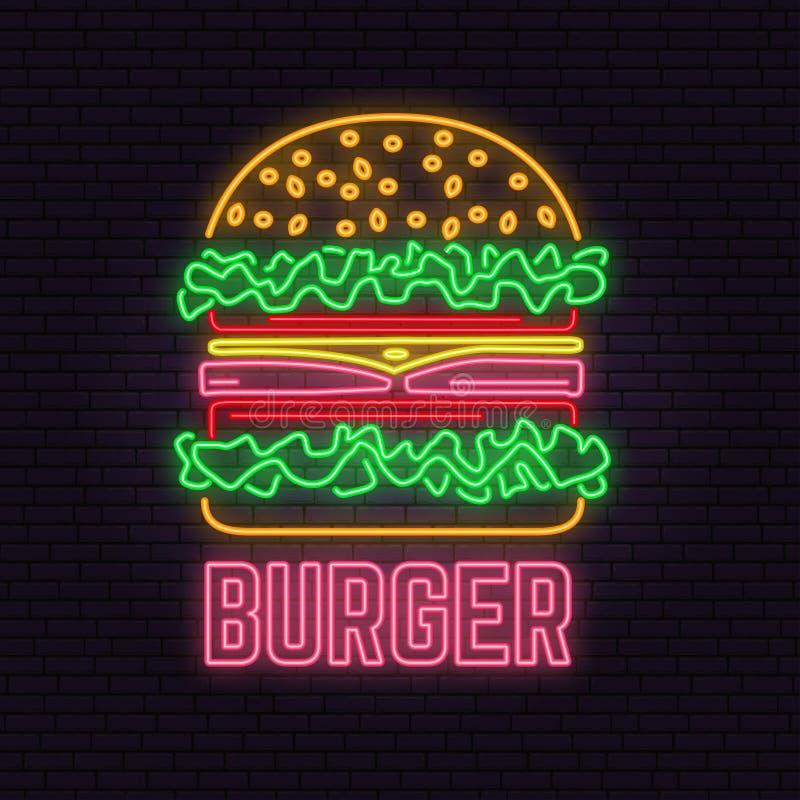 Muestra de neón retra de la hamburguesa en fondo de la pared de ladrillo Diseñe para el café, el hotel, el restaurante o el motel libre illustration