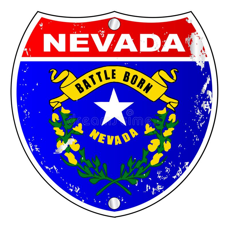 Muestra de Nevada Flag Icons As Interstate stock de ilustración