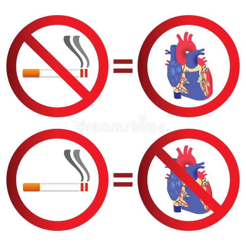 Muestra de no fumadores y del corazón stock de ilustración