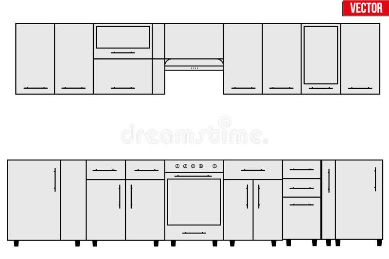 Muestra De Objetos Modulares De La Cocina Ilustración del Vector ...