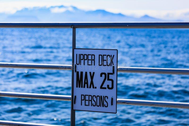 Muestra de observación 25 máximos de la cubierta superior del barco de la ballena imágenes de archivo libres de regalías