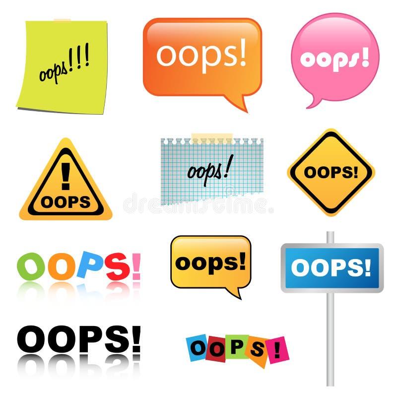 Muestra de Oops ilustración del vector
