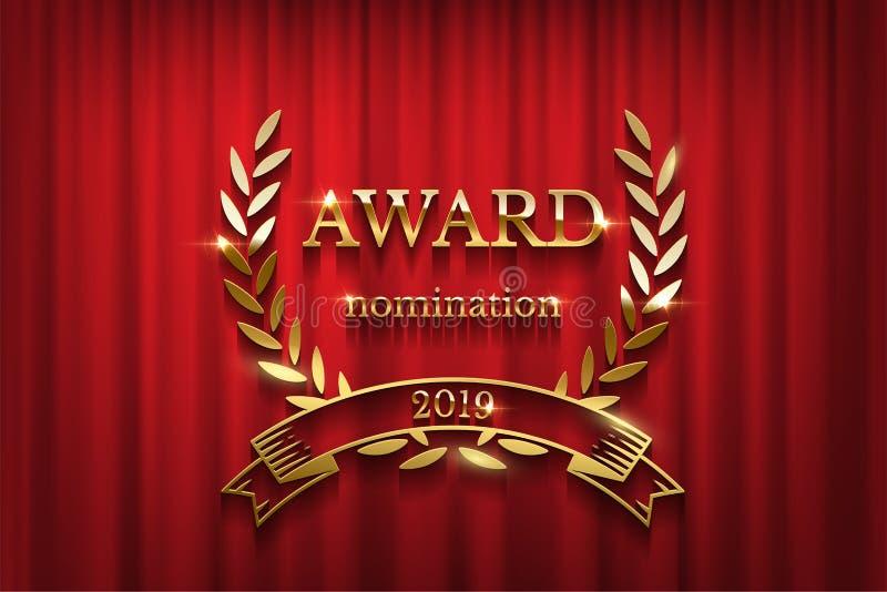 Muestra de oro del premio con la guirnalda del laurel y cinta aislada en fondo rojo de la cortina Ceremonia de entrega de los pre libre illustration