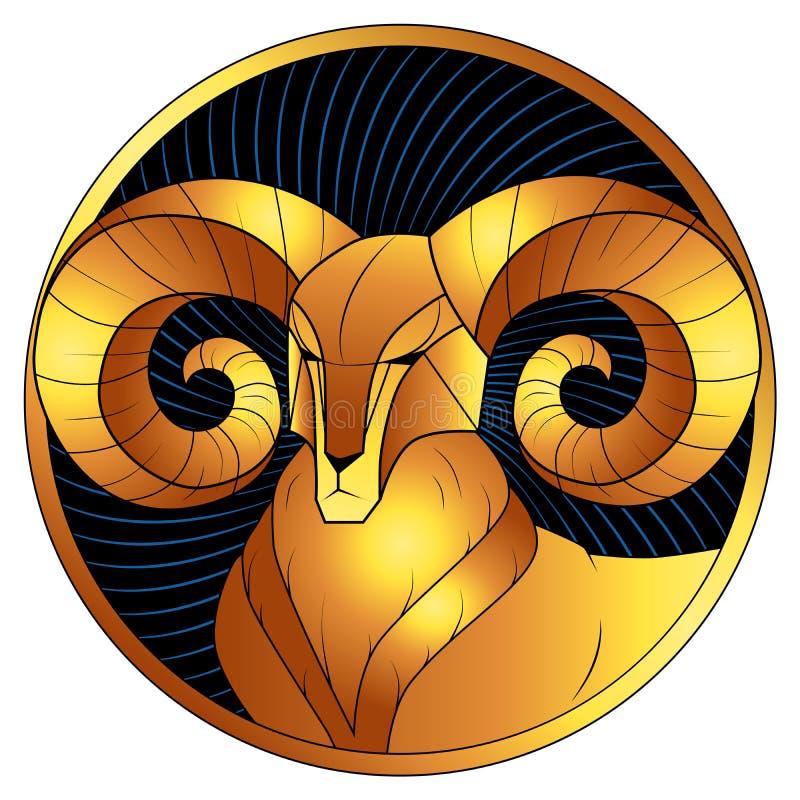 Muestra de oro del zodiaco del aries, símbolo del horóscopo, vector ilustración del vector