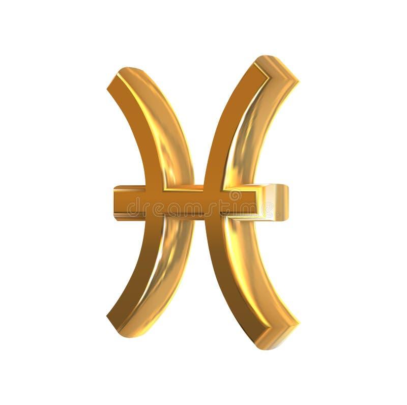Muestra de oro Piscis del zodiaco ilustración del vector