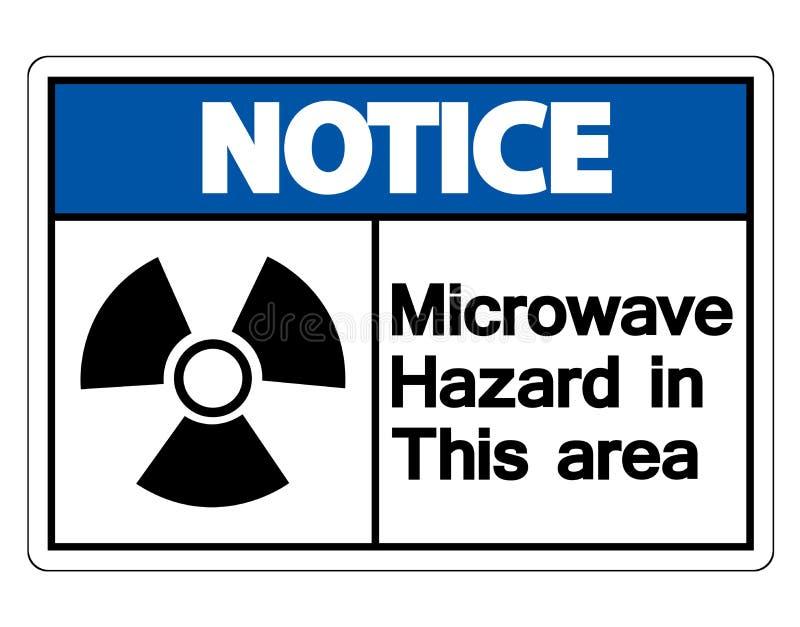 Muestra de peligro de la microonda del aviso en el fondo blanco, ejemplo del vector libre illustration