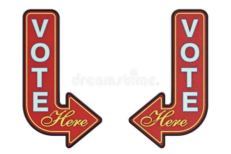 Muestra de Rusty Metal Vote Here Arrow del vintage representación 3d ilustración del vector