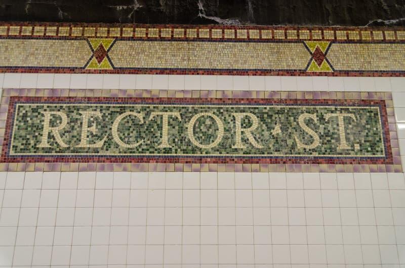 Muestra de St del rector, estación de metro, New York City, los E.E.U.U. foto de archivo