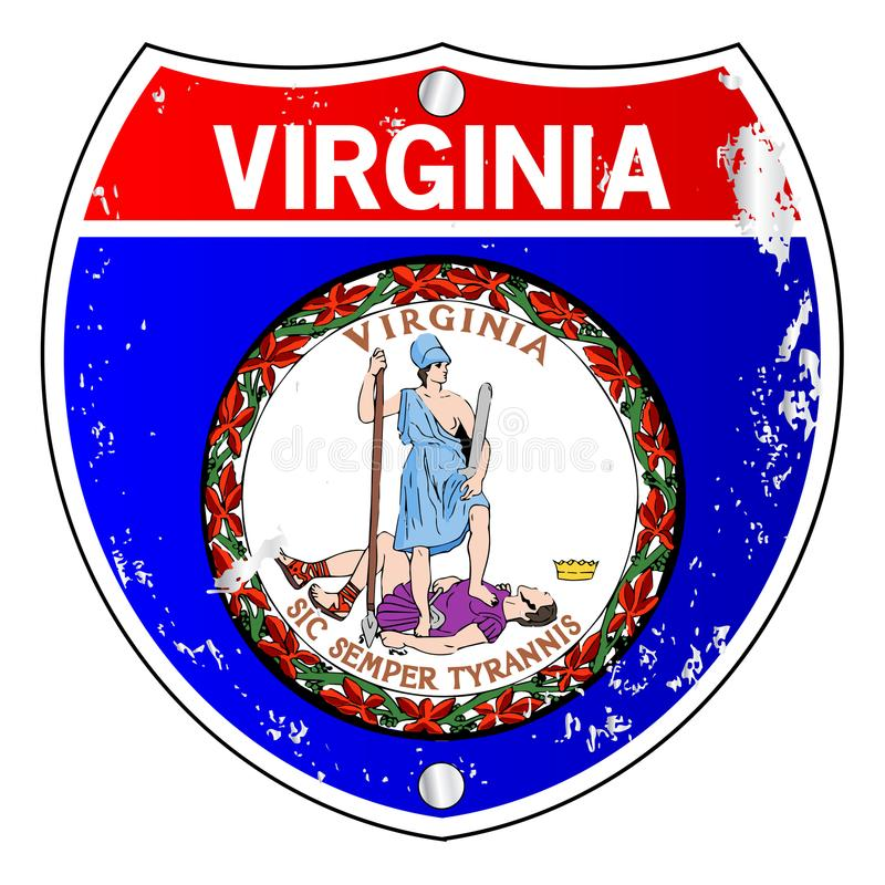 Muestra de Virginia Flag Icons As Interstate stock de ilustración