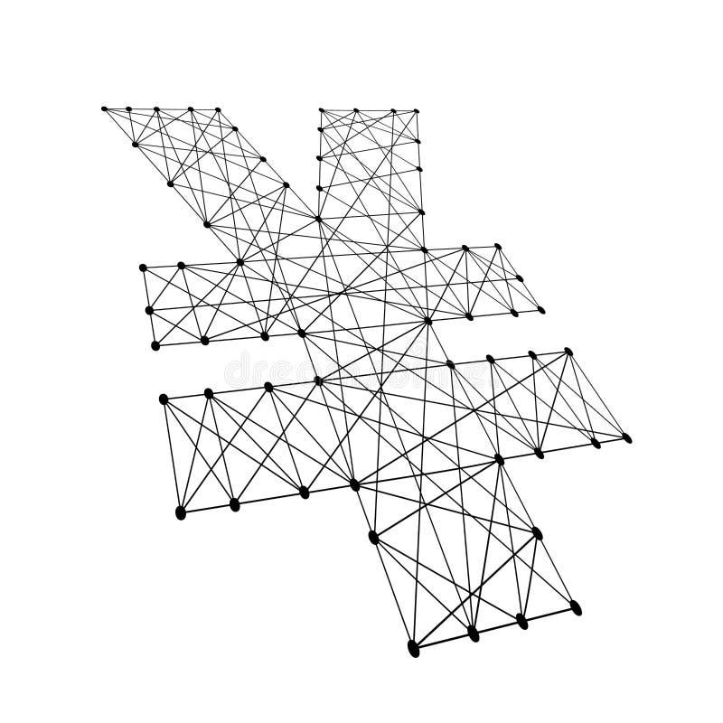 Muestra de yenes japoneses de las líneas negras poligonales, puntos del ejemplo ilustración del vector