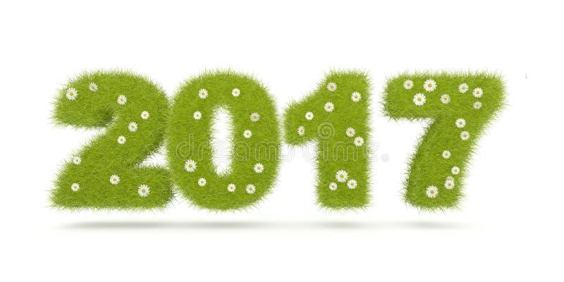 Muestra del Año Nuevo del verde 2017 aislada en blanco libre illustration