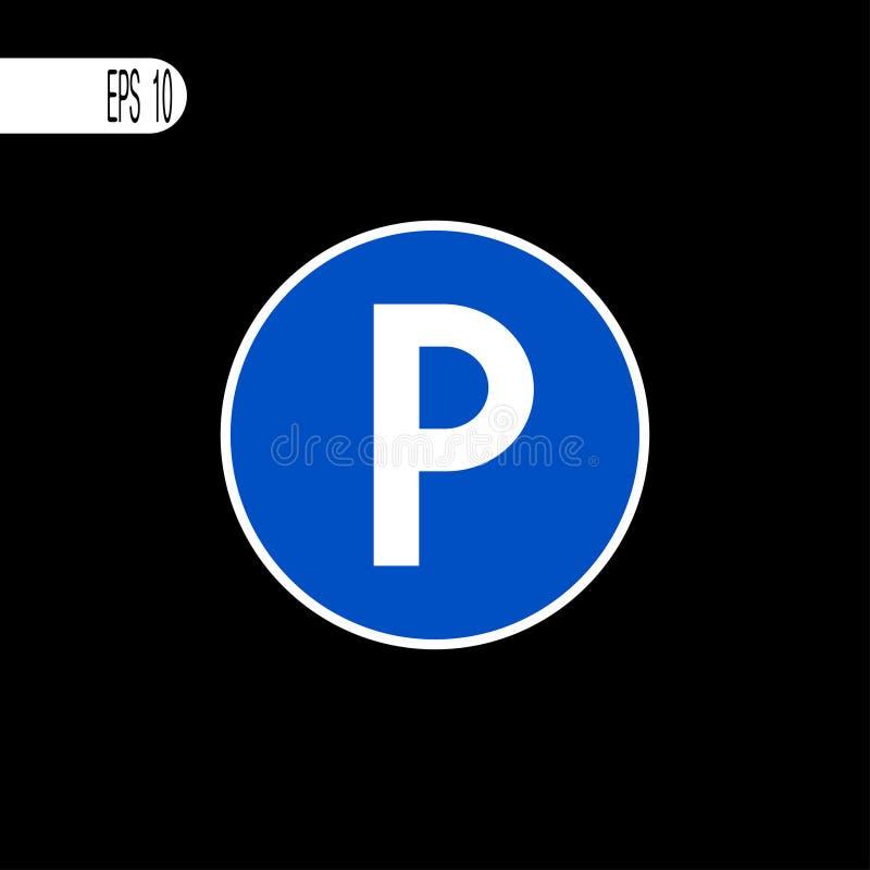 Muestra del aparcamiento, icono Línea fina blanca de la muestra redonda - ejemplo del vector ilustración del vector