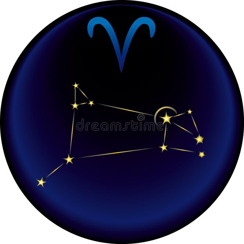 Muestra del aries del zodiaco stock de ilustración