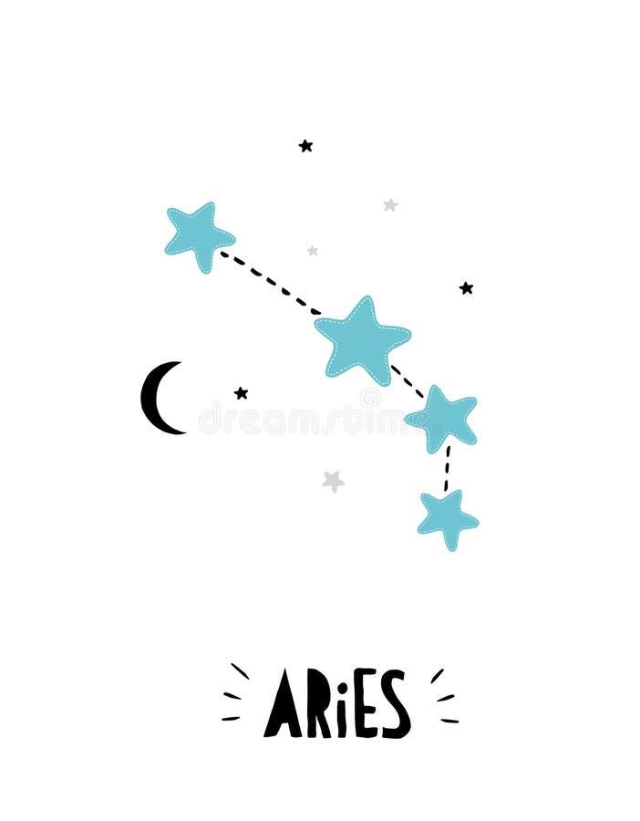 Muestra del aries Ejemplo exhausto del vector del zodiaco de la mano brillante linda Fondo blanco libre illustration