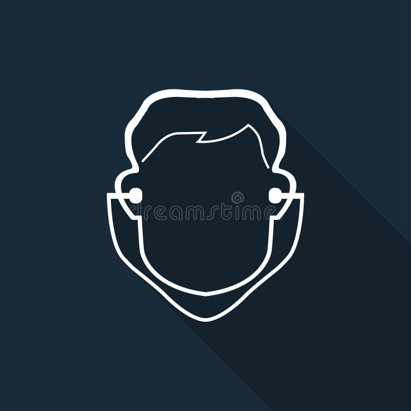 Muestra del auricular del desgaste del s?mbolo en el fondo negro, ejemplo del vector ilustración del vector