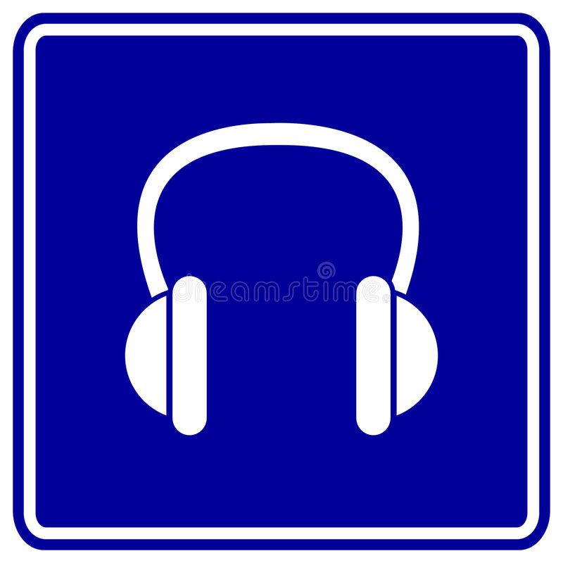 Muestra del azul de los auriculares del vector