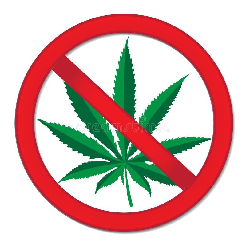 Muestra del cáñamo de la prohibición Marijuana roja de la prohibición de la muestra Pare la muestra de las drogas Ilustración del libre illustration
