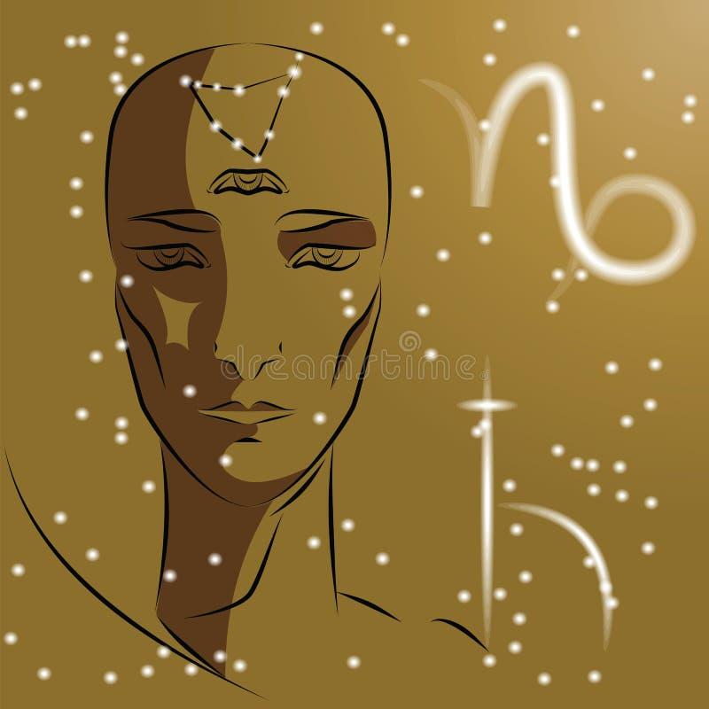 Muestra del Capricornio del zodiaco stock de ilustración