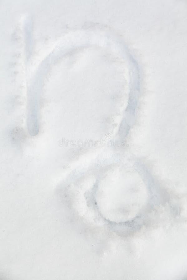 Muestra del Capricornio del zodiaco en la nieve blanca libre illustration