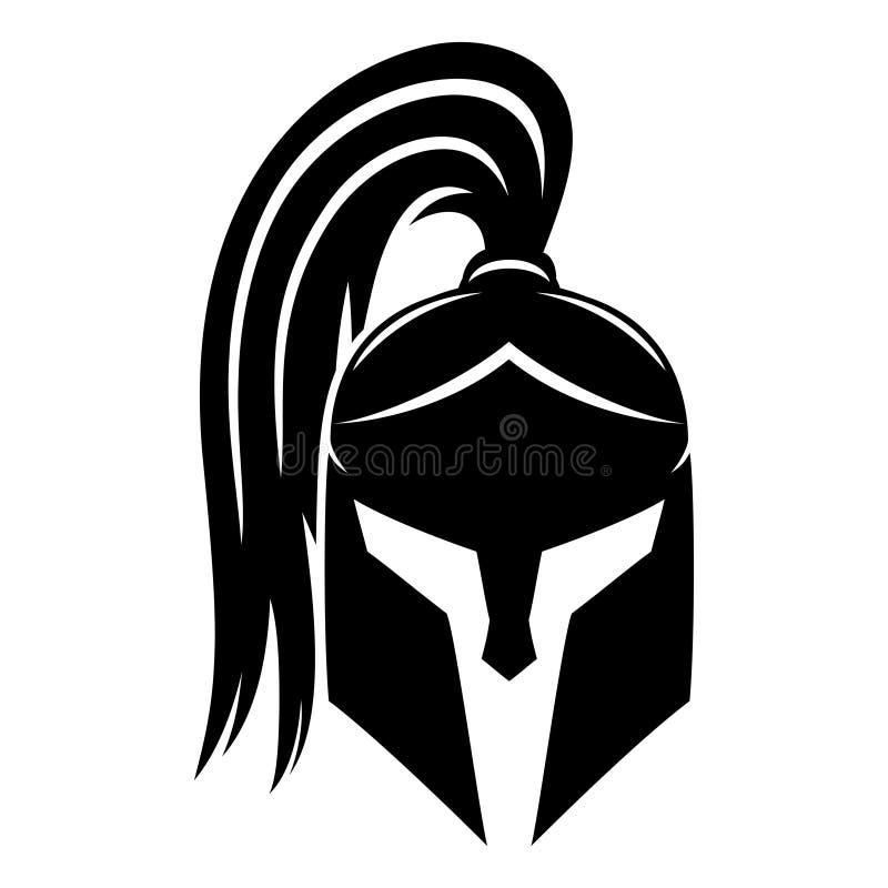 Muestra del casco espartano negro ilustración del vector