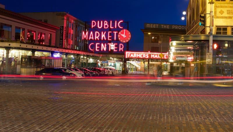 Muestra del centro del mercado público del lugar de Pike imagenes de archivo