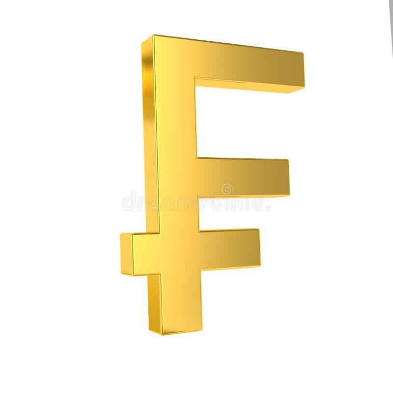 Muestra del CHF s?mbolo de oro del franco suizo 3d aislado en el fondo blanco representaci?n 3d libre illustration