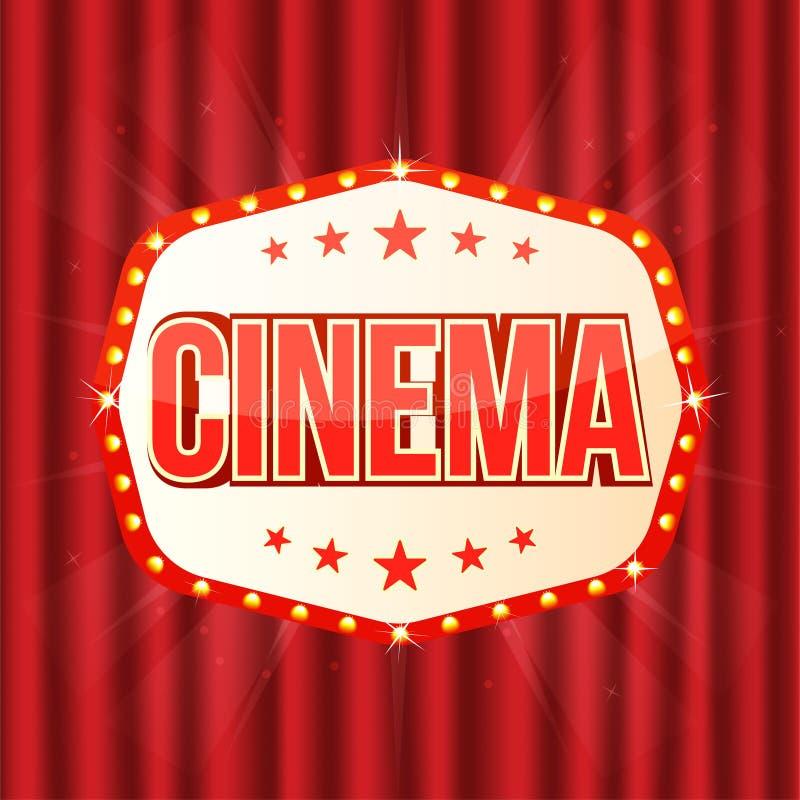 Muestra del cine en la cortina roja Marco ligero retro con las lámparas que brillan intensamente stock de ilustración