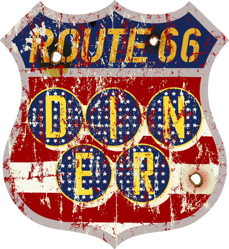 Muestra del comensal de la ruta 66 del vintage libre illustration