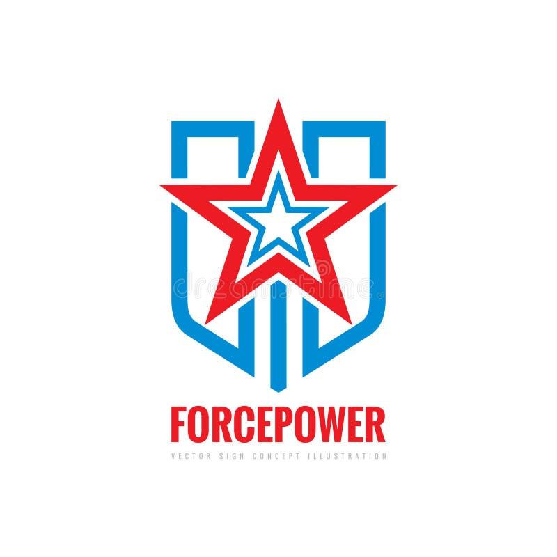 Muestra del concepto del poder de la fuerza Estrella, escudo y las rayas - vector el ejemplo de la plantilla del logotipo Símbolo ilustración del vector