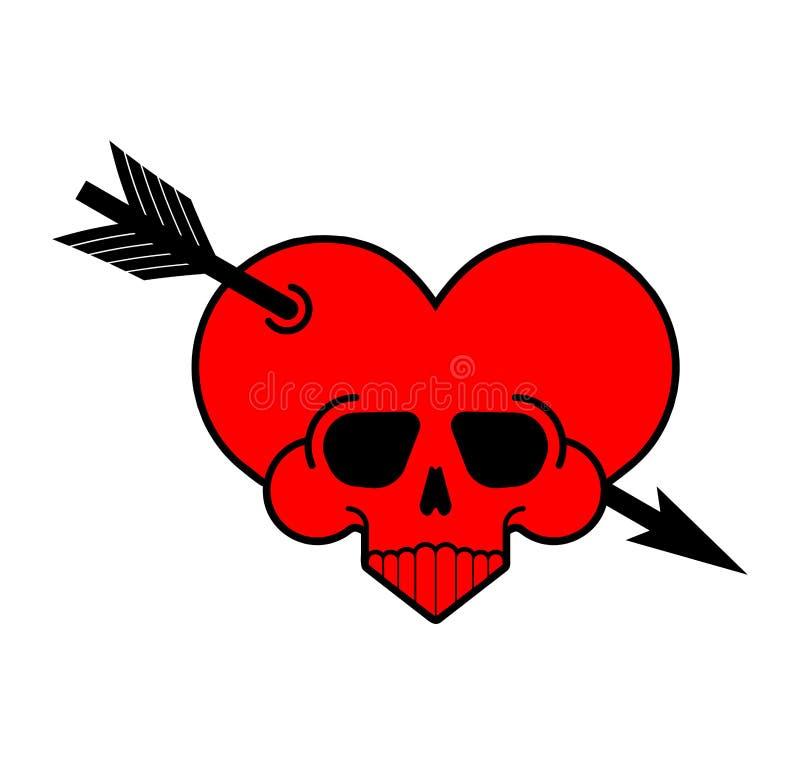 Muestra del corazón del amor del cráneo Símbolo mortal de amur Ejemplo?del vector de ? stock de ilustración
