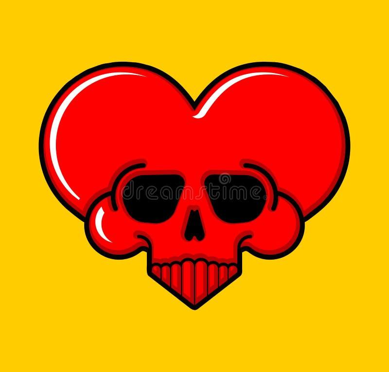 Muestra del corazón del amor del cráneo Símbolo mortal de amur Ejemplo?del vector de ? libre illustration