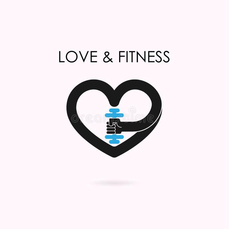 Muestra del corazón e icono de la pesa de gimnasia Aptitud y logotipo del gimnasio Atención sanitaria, spo ilustración del vector