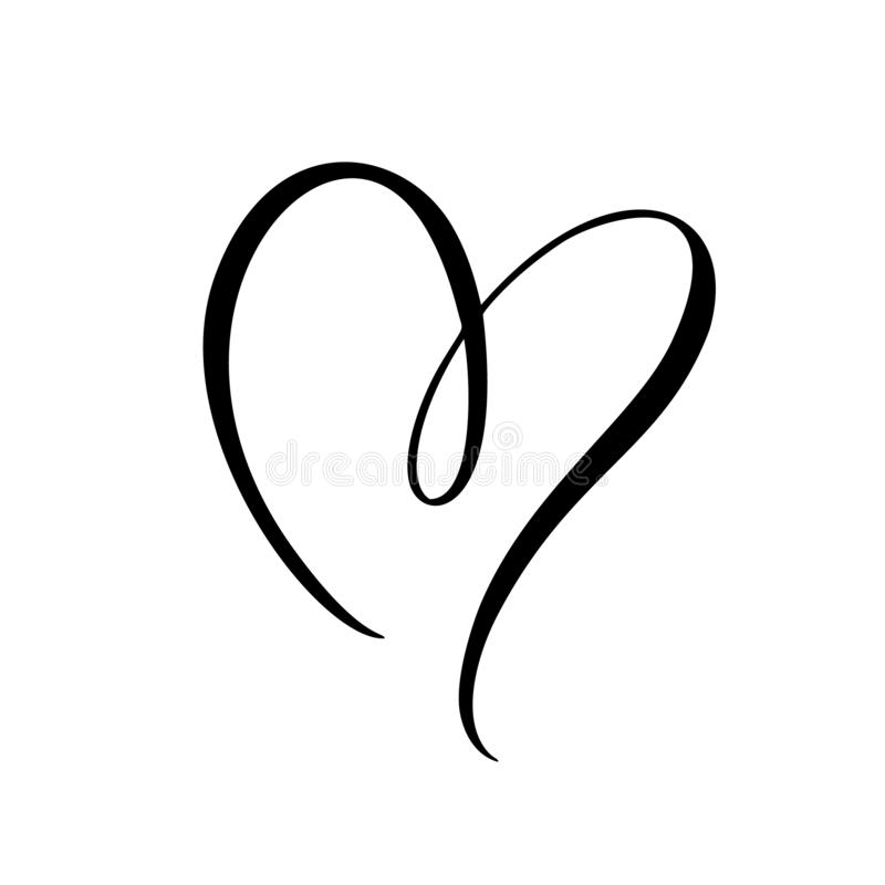 Muestra del corazón del negro del vector Icono en el fondo blanco El símbolo romántico del ejemplo ligado, se une a, amor, pasión stock de ilustración
