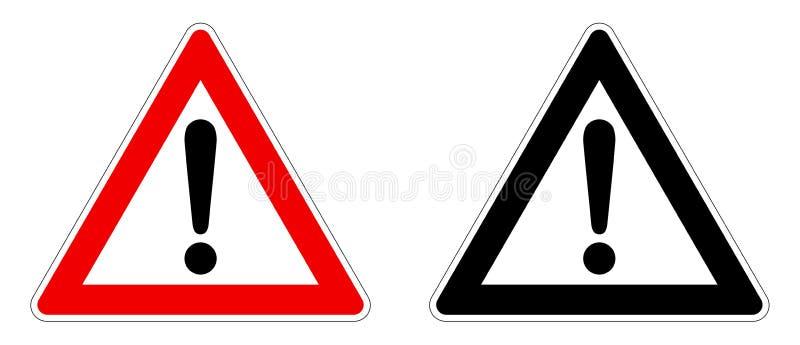 Muestra del cuidado/de la atención Marca de exclamación en triángulo Versión roja/blanco y negro ilustración del vector