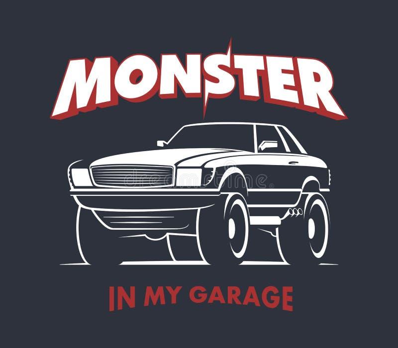 Muestra del cupé del monster truck stock de ilustración