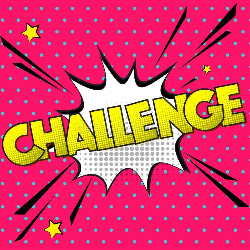 Muestra del desafío del vector Burbuja cómica del discurso del arte pop con la competencia del texto de la expresión Chapoteo din libre illustration
