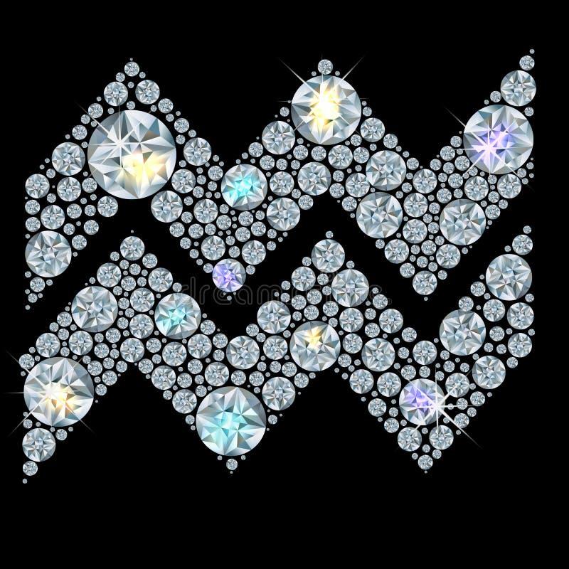 Muestra del diamante del acuario del zodiaco ilustración del vector