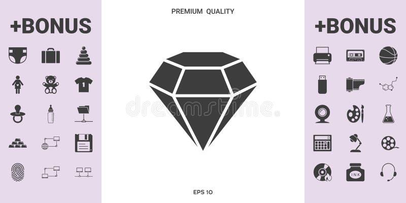 Muestra del diamante Símbolo de la joyería Gem Stone Diseño simple plano ilustración del vector