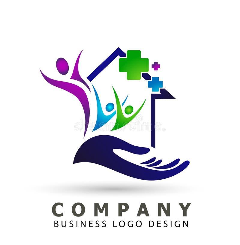Muestra del elemento del icono del logotipo del concepto de la salud de la cl?nica de la cruz de la salud de la familia del tejad libre illustration