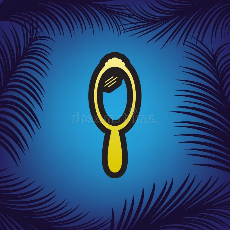 Muestra del espejo de mano Vector Icono de oro con contorno negro en el azul libre illustration