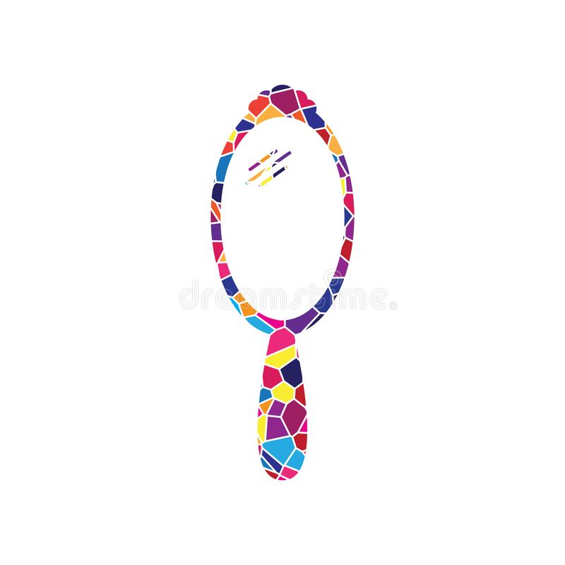 Muestra del espejo de mano Vector Icono del vitral en el fondo blanco stock de ilustración