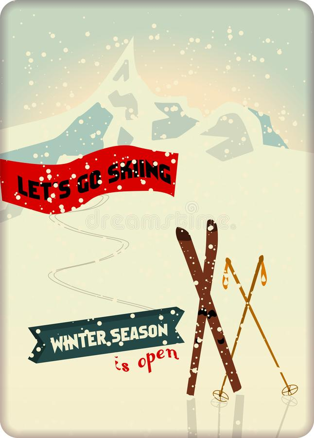 Muestra del esquí del vintage y del metal de los deportes de invierno, espacio de la copia libre, fi ilustración del vector