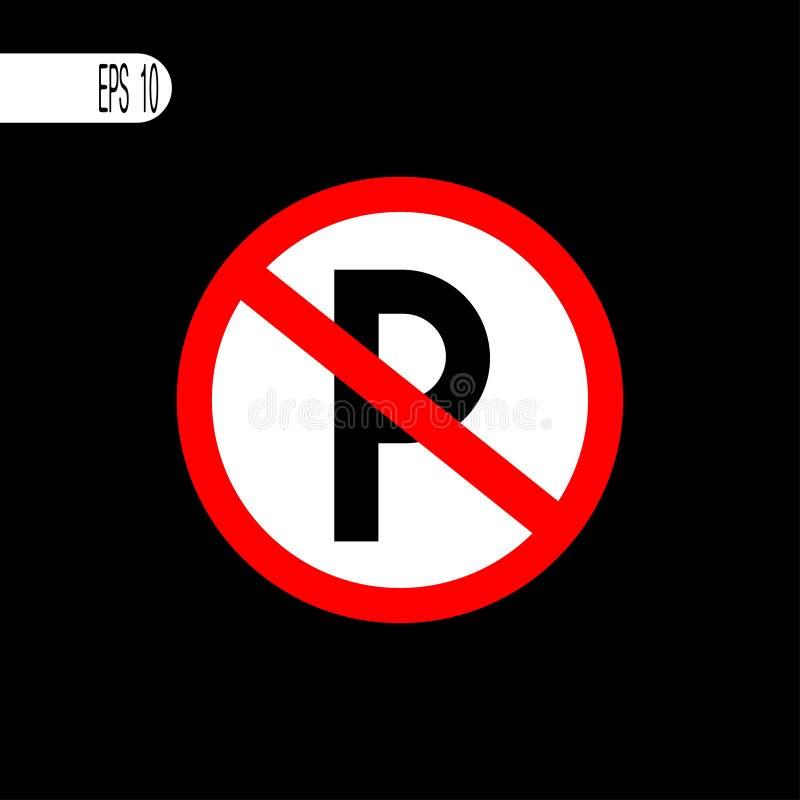 Muestra del estacionamiento prohibido, icono - ejemplo del vector stock de ilustración