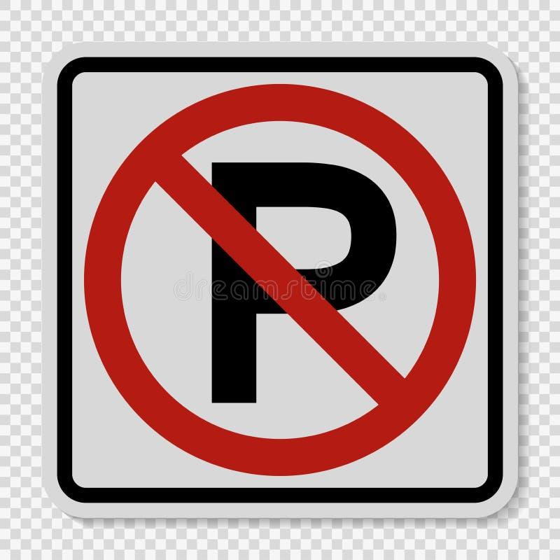 muestra del estacionamiento prohibido del símbolo en fondo transparente stock de ilustración