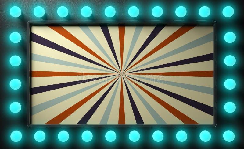 Muestra del estilo del circo del vintage con las bombillas azules en fondo negro de la pared ilustración 3D ilustración del vector