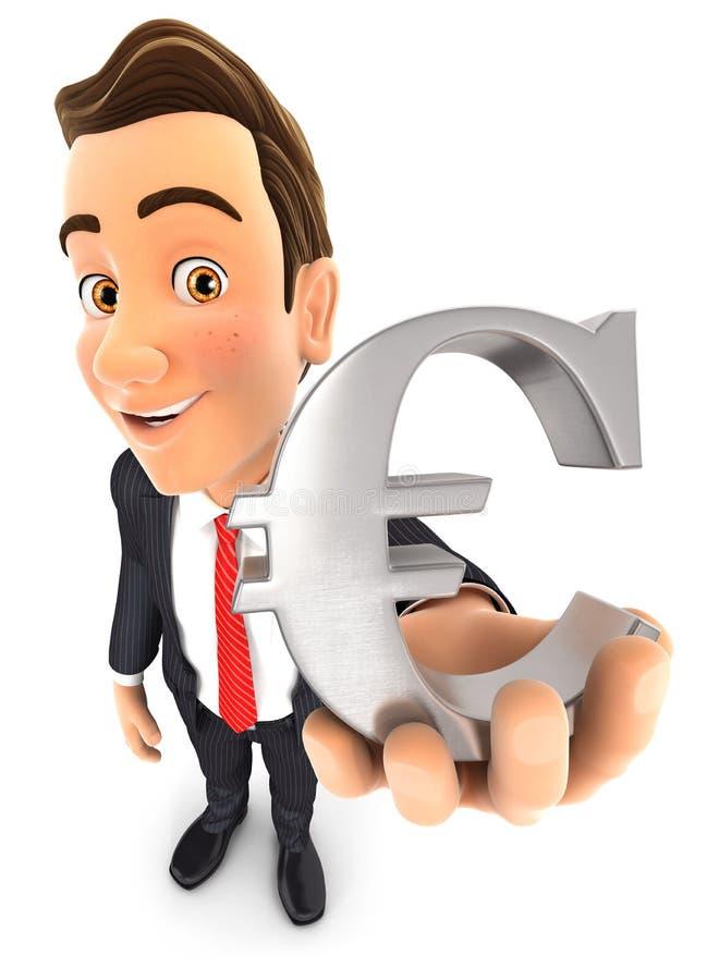 muestra del euro del hombre de negocios 3d libre illustration