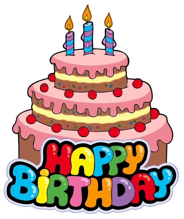 Muestra del feliz cumpleaños con la torta libre illustration