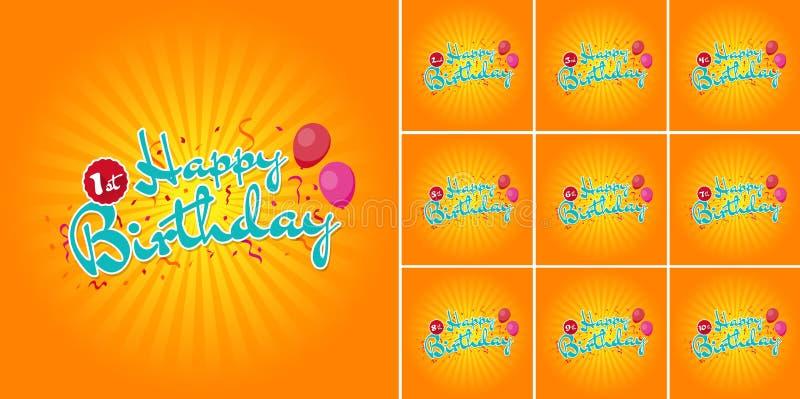 Muestra del feliz cumpleaños con los globos durante los 1ros - 10mos años del confeti ilustración del vector