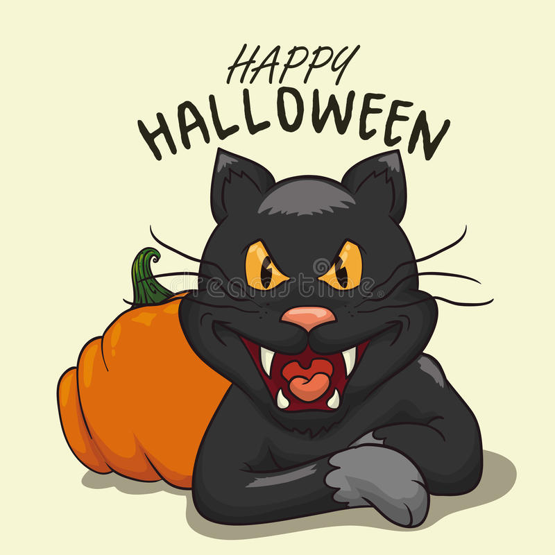 Muestra del feliz Halloween con el gato negro y la calabaza, ejemplo del vector ilustración del vector