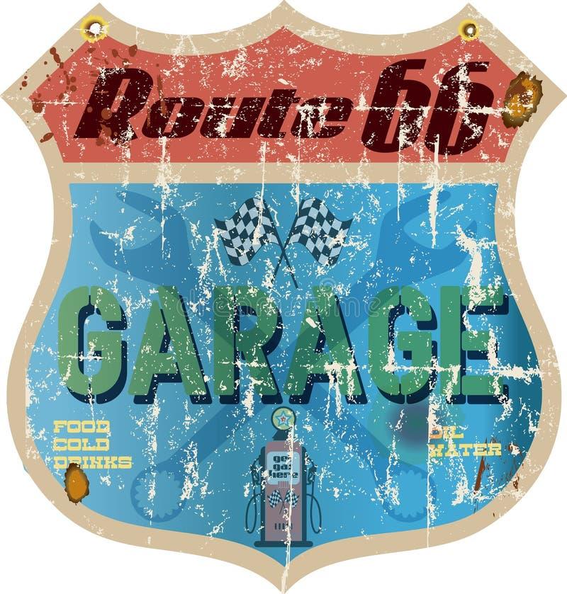 Muestra del garaje de Route 66 stock de ilustración